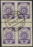 LETTLAND 22y VB O, 1919, 50 K. Violett, Senkrecht Geripptes Papier, Im Viererblock Mit Waagerechter Zähnung L 9 3/4, Pra - Lettland