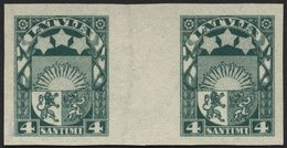 LETTLAND 91UZW (*), 1923, 4 S. Grün, Ungezähnt Im Zwischenstegpaar, Ohne Gummi, Pracht - Lettland