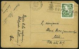 LETTLAND 234 BRIEF, 1934, 10 S. Neue Verfassung Lettlands Auf Ansichtskarte Mit Seltenem Tannen - Maschinen-Werbestempel - Lettland