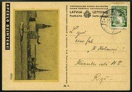 LETTLAND BP 1a BRIEF, 1936, Bildpostkarte Riga, Unterdruck Gelblich, Frankiert Mit Mi.Nr. 234, Prachtkarte - Lettland