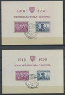 LITAUEN Bl. 1A/B O, 1939, Blockpaar 20 Jahre Republik, Sonderstempel, Pracht, Mi. 185.- - Lithuania
