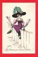 Roberty - Illustrateur;Les Entravées Pour Descendre L'escalier, Femme Au Chapeau ,plume - Sin Clasificación