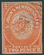 KANADA - NEUFUNDLAND 2b O, 1860, 2 P. Orange (SG.-Nr. 10), Zweiseitig Berührt Sonst Lupenrandig, Sehr Farbfrisch, Feinst - Newfoundland