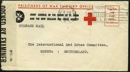 NEUFUNDLAND 1945, Vordruckbrief Der Rotkreuzgesellschaft Prisoners Of War Enquiry Office Nach Genf, Mit Verschlussstreif - Newfoundland