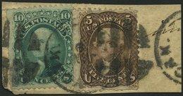 USA 19W,20W BrfStk, Scott 95/6, 1867, 5 C. Jefferson Und 10 C. Washington, Beide Waffeleinpressung, Zusammen Auf Briefst - Usati