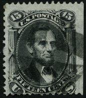 USA 22W O, Scott 98, 1861, 15 C. Lincoln, Waffeleinpressung Type VII, Rechts Ungezähnt (Randstück), üblich Gezähnt Prach - Usati