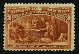 USA 82 *, Scott 239, 1893, 30 C Columbus-Weltausstellung, Falzrest, Kleine Bildseitige Schürfung Sonst Pracht, $ 240 - Usati