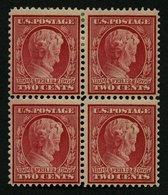USA 175Ay VB **,* , Scott 369, 1909, 2 C. Lincoln, Wz. 1, Gezähnt L 12, Bläuliches Papier, Im Viererblock, 2 Werte Postf - Usati