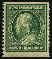 USA 178G *, Scott 387, 1910, 1 C. Franklin, Wz. 2, Senkrecht Gezähnt 12, Falzrest, Pracht, $ 190 - Usati