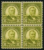 USA 270 VB **,* , Scott 560, 1923, 8 C. Grant Im Viererblock, Das Untere Paar Postfrisch, Pracht - Usati