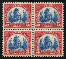 USA 285a VB **, Scott 573, 1923, 5 $ Karmin/blau Allegorie Amerika Im Postfrischen Viererblock, Pracht - Usati