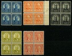 USA 267-71C VB **, Scott 586-90, 1925, 5 - 9 C. Bedeutende Persönlichkeiten, Gezähnt L 10, In Postfrischen Viererblocks, - Usati