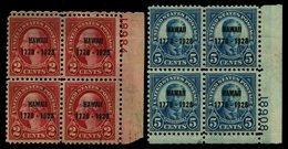 USA 311/2 VB **, Scott 647/8, 1928, Hawaii In Postfrischen Plattenviererblocks, Postfrisch, Pracht, $ 650 - Usati
