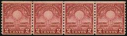 USA 317D **, Scott 656, 1929, 2 C. Edison, Senkrecht Gezähnt 10, Im Waagerechten Viererstreifen, Postfrisch, Pracht, $ 9 - Usati