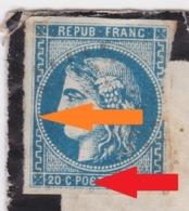 YT 46B Variété Sur La Légende Et Sur Les Perles - Enveloppe - Roux Cochart Bléré- 1871 - Boite Mobile FRANCO DE PORT - Unclassified