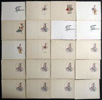 ALTE POSTKARTEN - VARIA EINLADUNGSKARTEN, 20 Dekorative Alte Ungebrauchte Karten Mit 6 Verschiedenen Motiven - Postkaarten