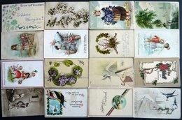 ALTE POSTKARTEN - VARIA Glückwunschkarten, Geburtstag, Pfingsten, Ostern Und Neujahr, 16 Verschiedene Karten, Feldpostka - Postkaarten