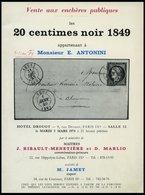 PHIL. LITERATUR Katalog 20 Centimes Noir 1849 - Appartenant à Monsieur E. Antonini, 1974, M. Jamet, 35 Seiten, Diverse A - Philatelie Und Postgeschichte