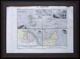Die Inseln St. Pierre Und Miquelon Im Atlantischen Ocean, Die Inseln Marquises (Neu Kaledonien), Französisch Guayana, Ma - Karten