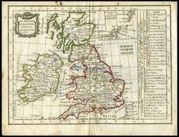 Großbritannien Und Irland, Les Royaumes D`Angleterre D`Ecosse Et D`Irlande, Grenzkolorierter Kupferstich Aus Delamarché  - Karten
