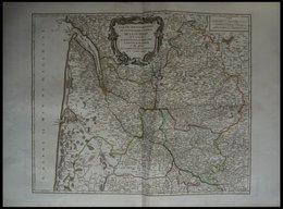 ALTE LANDKARTEN - FRANKRE (50x60) , Die Provinzen Le Bourdelois, Le Perigord, L`Agenois, Le Bazadois, Altkolorierter Kup - Karten