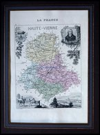 Departement Haute-Vienne Mit Gesamtansicht Der Hauptstadt Limoges Mit Dekorativer Personenstaffage, Farbiger Stahlstich  - Karten