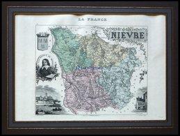 Departement Nievre Mit Gesamtansicht Der Hauptstadt Nevers Und Dekorativer Personenstaffage, Farbiger Stahlstich Von M.  - Karten