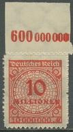 Deutsches Reich 1923 Korbdeckel Platten-Oberrand 318 BP OR A Postfrisch - Deutschland