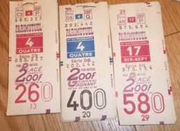 Lot De Tickets PARIMUTUEL Tiercé PMU Hippodrome - Vieux Papiers