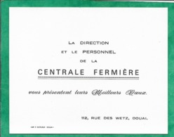 Carte De Visite Douai (59) Direction & Personnel De La Centrale Fermière 112 Rue Des Wetz 2scans (meilleurs Voeux) - Visitekaartjes