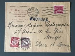 France N°406 Sur Lettre Taxée (Taxe N°33 Et 40) - 1939 - (B2453) - Marcophilie (Lettres)