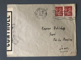 France N°652 (x2) Impression Usée Sur Lettre Censurée De Paris Pour Suré - (B2456) - Guerre De 1939-45