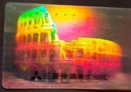 Télécarte Japon / 110-016 B - HOLO 3 D - ITALIE ROME COLISEE - ITALY ROMA COLOSSEO Japan HOLOGRAM Phonecard - Cultura