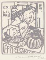 Ex Libris Seppi Cesarina - Remo Wolf (1912-2009) Gesigneerd - Ex-Libris