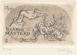 Ex Libris Gianni Mantero 80 - Remo Wolf (1912-2009) Gesigneerde Ets - Ex-libris
