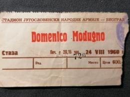 Old Paper Ulaznica Ticket DOMENICO MODUGNO Stadion Jugoslovenske Narodne Armije Beograd 1960. - Pubblicitari