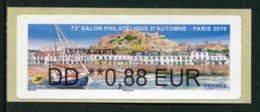 """LISA De 2019 - """"DD **0,88 EUR - LETTRE VERTE - 73e SALON PHILATELIQUE D'AUTOMNE - PARIS  2019"""" - 2010-... Illustrated Franking Labels"""