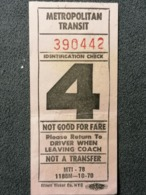 Old Small Ticket METROPOLITAN TRANSIT New York City Identification Check 1960's - Tickets - Entradas