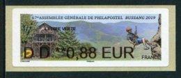"LISA De 2019 - ""DD **0,88 EUR - LETTRE VERTE - 67e ASSEMBLEE GENERALE DE PHILAPOSTEL - BUSSANG 2019"" - 2010-... Geïllustreerde Frankeervignetten"