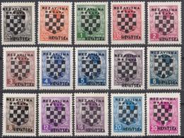 CROAZIA - 1941 - Serie Completa Formata Da 15 Valori Nuovi MNH: Yvert 9/23. - Croacia