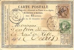 1875- C P Précurseur De THOUARS ( Deux Sèvres ) Cad T17  Affr.  N°54 Et 53 Oblit. G C 3955 - Marcophilie (Lettres)