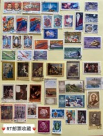 1970 To 1990 50 Different USSR Russia Art Paintings Transport Space Ships Aviation Aircraft Lighthouse Stamps CTO - Art
