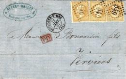 1867-lettre De Boulogne-sur-Mer ( Pas De Calais ) Affr. N° 21 X 3 Oblit. G C 549 Pour Vernis ( Belgique ) - Marcophilie (Lettres)