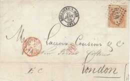 1868-lettre De Boulogne-sur-Mer ( Pas De Calais ) Affr. N° 23 Seul  Oblit. G C 549 Pour Londres - Storia Postale