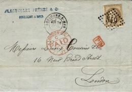 1871-lettre De Boulogne-sur-Mer ( Pas De Calais ) Cad T17 Affr. N°30 Seul Oblit. G C 549 Pour Londres - Storia Postale