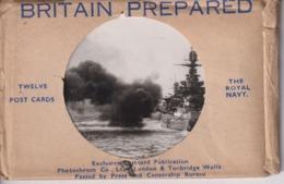 RARE /// 12 CARDS  BRITAIN PREPARED ROYAL NAVY HMS RENOWN WREN RODNEY RESOLUTION MALAYA  ARK ROYAL - Guerre