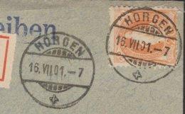 ZH  HORGEN / EINSCHREIBBRIEF NACH ZUERICH - 1882-1906 Wappen, Stehende Helvetia & UPU
