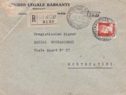 BUSTA VIAGGIATA RACC. - FIRENZE - STUDIO LEGALE BARSANTI - VIAGGIATA PER MONTECATINE( PISTOIA) - 1900-44 Vittorio Emanuele III