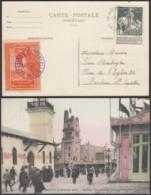 BELGIQUE COB 88 SUR CP EXPO BRUXELLES 1910 VIGNETTE VIOLET 30/10/1910 (VGVP39) DC-4565 - 1910-1911 Caritas