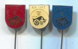 Basketball Pallacanestro Baloncesto - KK IMT ( Tractor ) Belgrade Serbia, Vintage Pin, Badge, Abzeichen, 3 Pcs - Basketbal